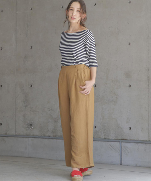 ☆Linen rayon cropped length wide pants☆