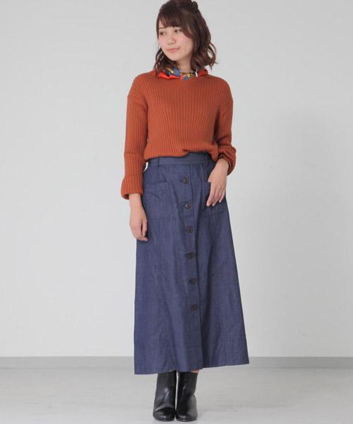 ☆Cotton nylon twill & Denim Torape over's long skirt☆