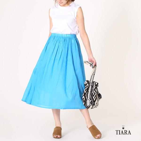 【予約販売】ビビッドカラーのラミーギャザースカート
